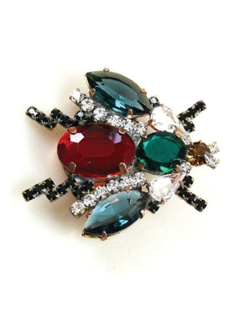 Unusual Czech Blue and Red Insect Brooch -  New