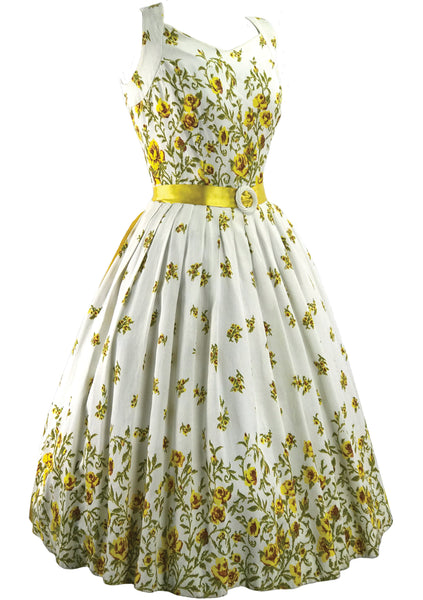 1950s Golden Roses Trellis Border Dress - New!