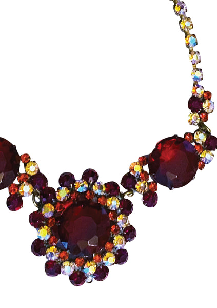 Ruby and Clear Crystal Czech Necklace- New! (ON HOLD)