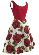 1950s Red Roses Cotton & Chiffon Dress With Sequins- New!