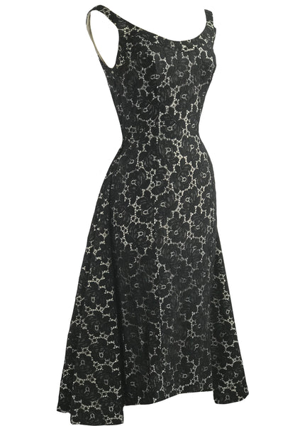 Vintage 1950s Designer Cotton Lace Cocktail Dress- New!