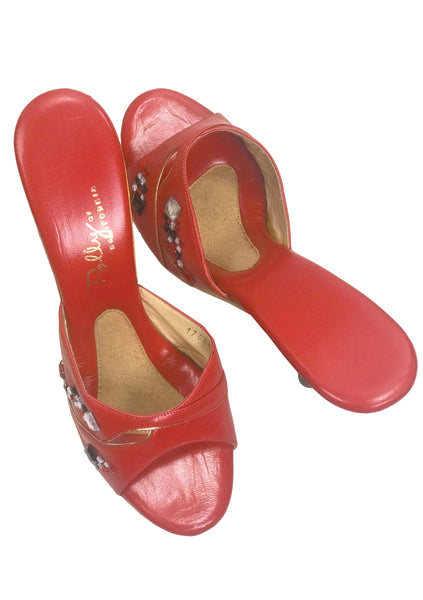 Rare 1960s Red Jewelled Polly of California Shoes - New!