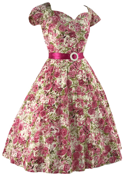1950s Pink Roses with Sequins Cotton Dress- New!