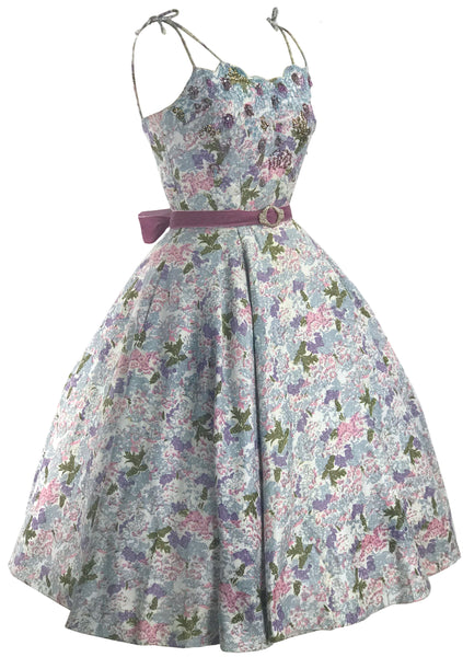 Vintage 1950s Pink and Blue Floral Designer Dress - New!