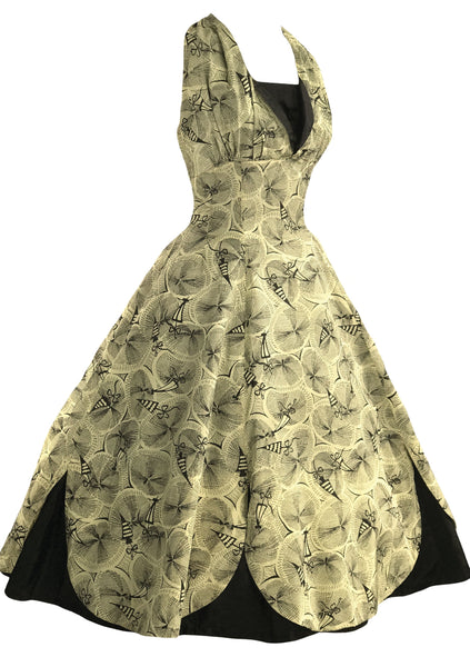Vintage 1950s Parasols Novelty Print Taffeta Dress- New!