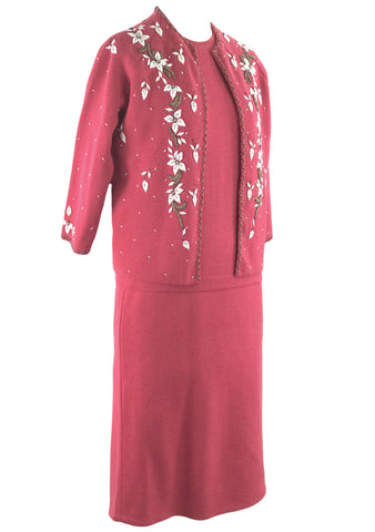 Vintage 1960's Beaded Rouge Pink Wool Knit Suit- New!