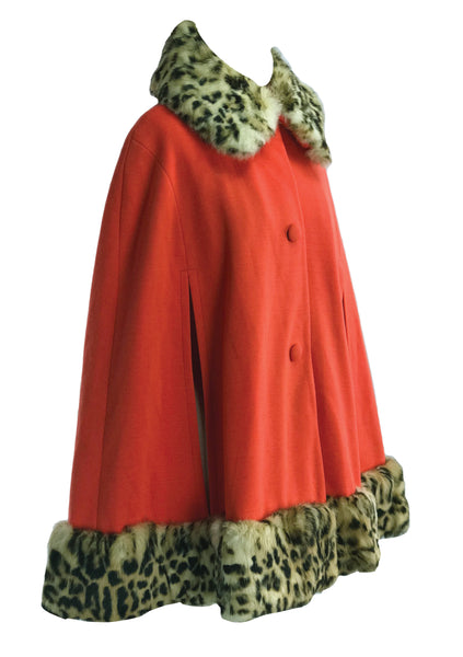 1960s - 1970s Tangerine Red Wool Lilli Ann Cape - New!