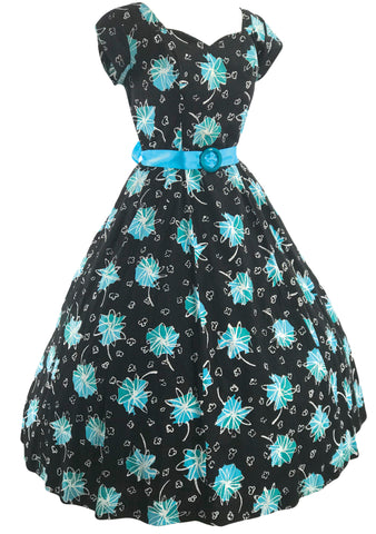 1950s Black Cotton Dress with Blue Atomic Print - New!