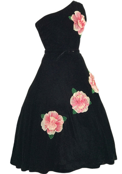 1950s Designer Black Velvet 3D Rose Appliques Dress - New!