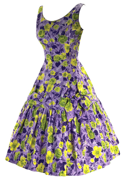 1950s - 1960s Lilac and Chartreuse Floral Print Dress- New! (ON HOLD)
