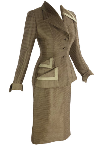 Rare Documented 1950s Lillli Ann Caramel Silk Suit- New!