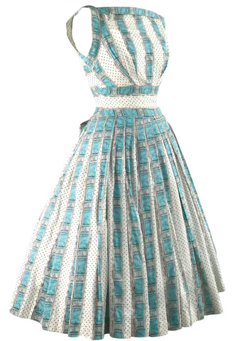 Vintage 1950s Trompe L'Oeil Ribbon & Lace Dress - New!
