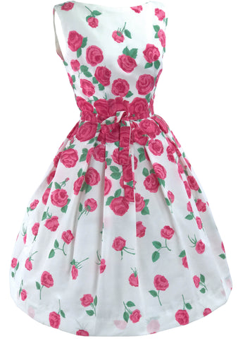 1950's Magenta Pink Floral Cascading Roses Dress - New!