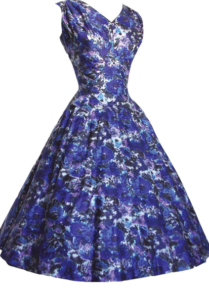 Vintage 1950s Cobalt Blue Floral Cotton Dress  - New! (on Hold)