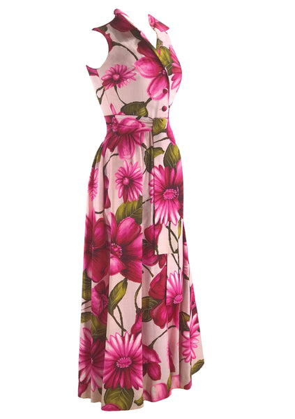 Striking 1960s Pink Floral Maxi Dress- New!