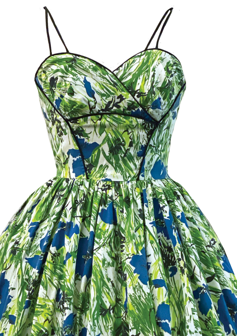 1950s Blue and Green Flora Cottonl Sundress