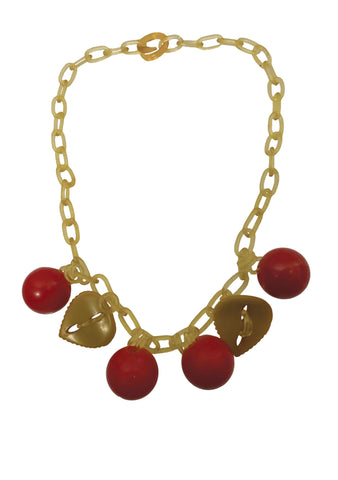 1940s Red Bakelite Cherries Necklace with Celluloid Chain- New! (ON HOLD)