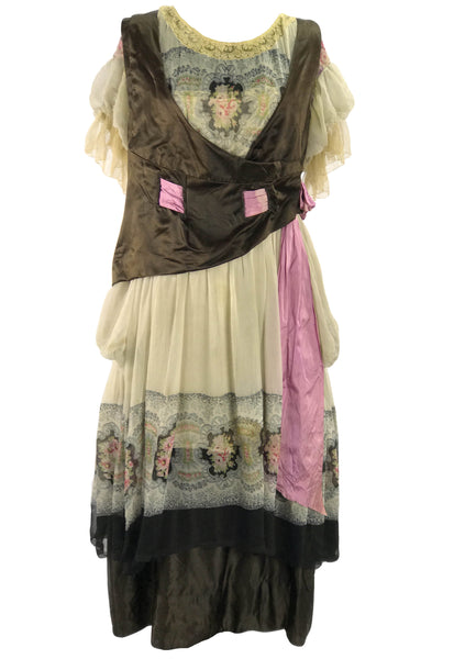 1910 - 1920s RARE French Floral Robe de Style Dress  - New!