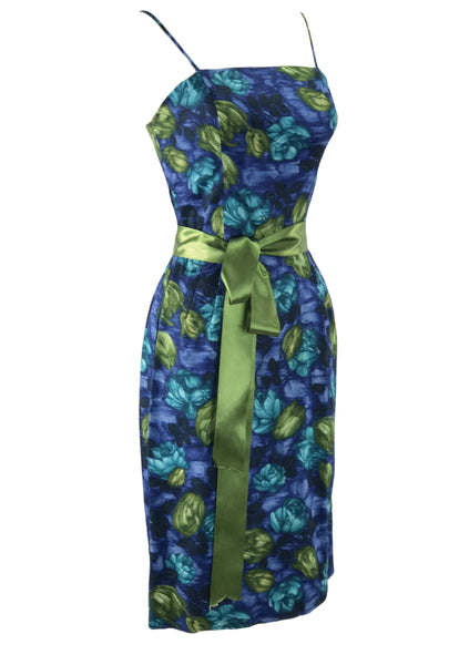 1950-1960 Blue & Green Roses Cotton Dress Ensemble- New!