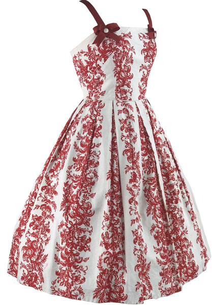 Vintage 1950s Red & White Scroll Textured Cotton Dress- New!