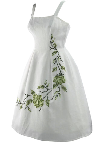 Vintage Late 1950s Ivory Faille Dress with Green Embroidery - New!