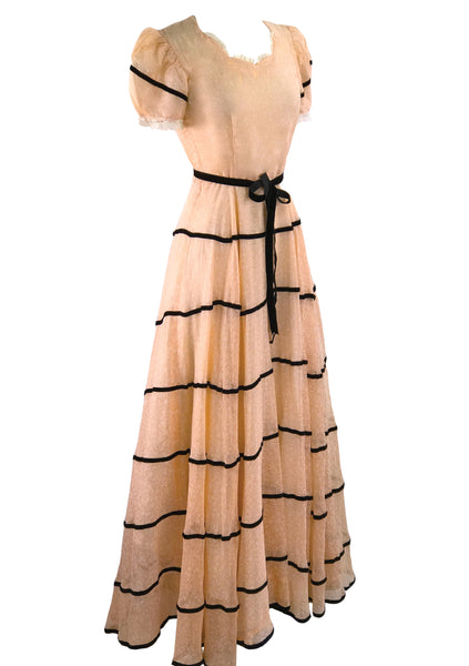 Vintage 1930s Peach and White Floral Deco Gown - New!
