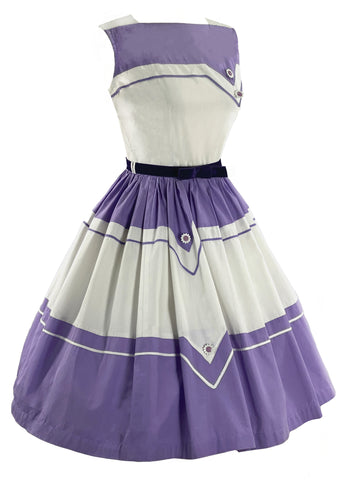 Vintage Late 1950s Purple and White Cotton Dress- New!