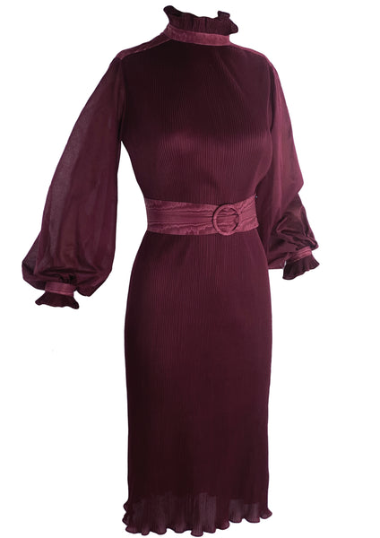 Gorgeous 1970s does 1930s Maroon Dress- New!