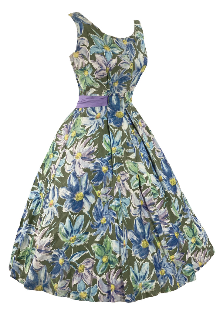 Late 1950s Early 1960s Purple and Blue Floral Dress - New!