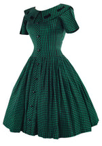 Vintage 1950s Black and Green Check Dress- New!