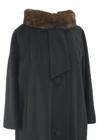 1960s Couture Lilli Ann Black Wool Coat with Mink Collar- New!