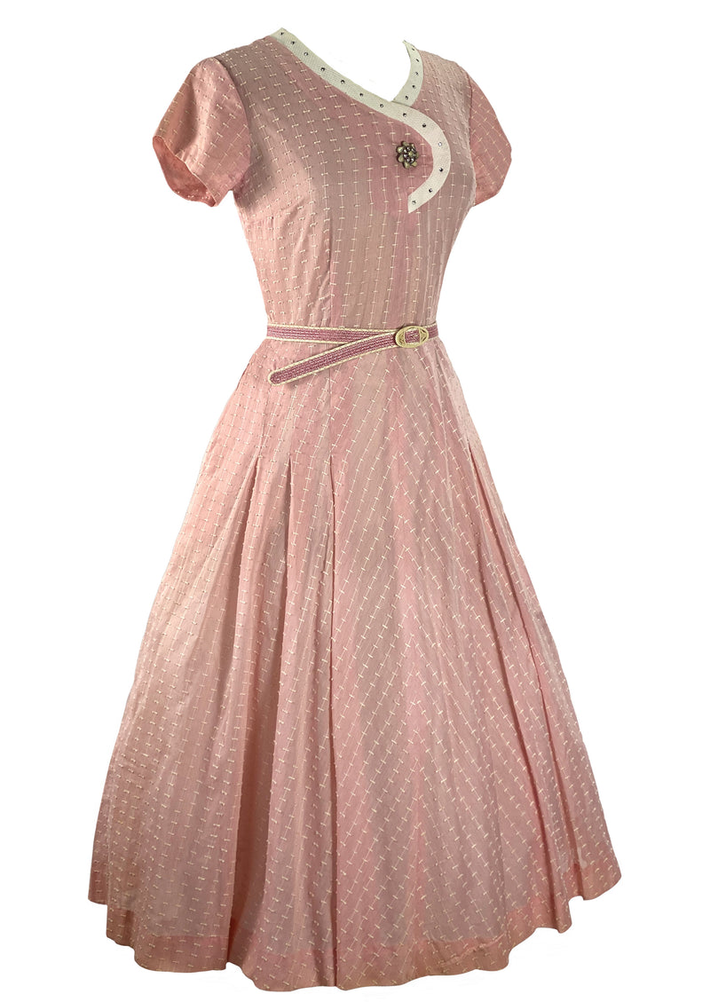 Late 1940s Early 1950s Pink Embroidered Cotton Dress- New!