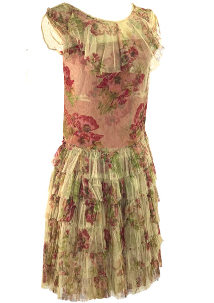 1920s Art Deco Floral Painted Tulle Day Dress - New!