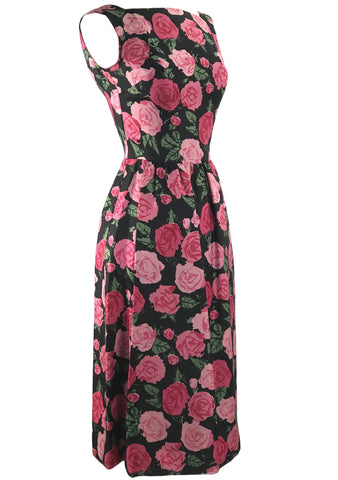 Vintage Late 1950s Pink Roses Silk Dress - New! (TAMMY)