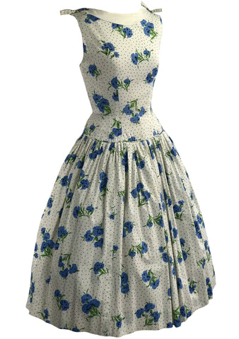 Vintage 1950s Blue Carnations & Dots Cotton Dress- New!