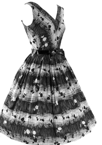 1950s Black & White Cotton Jerry Gilden Dress - New!
