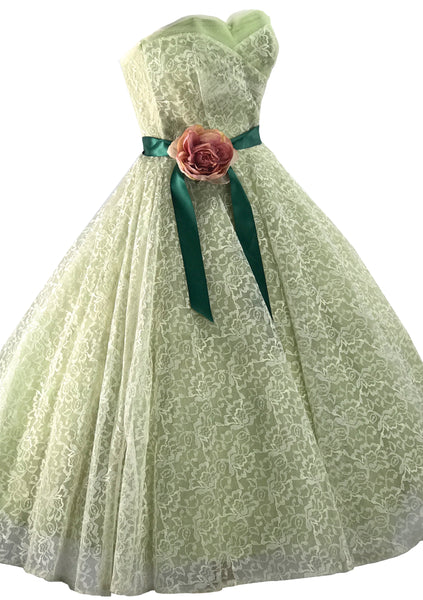 Vintage 1950s Pistachio Green Net Lace Party Dress - New!