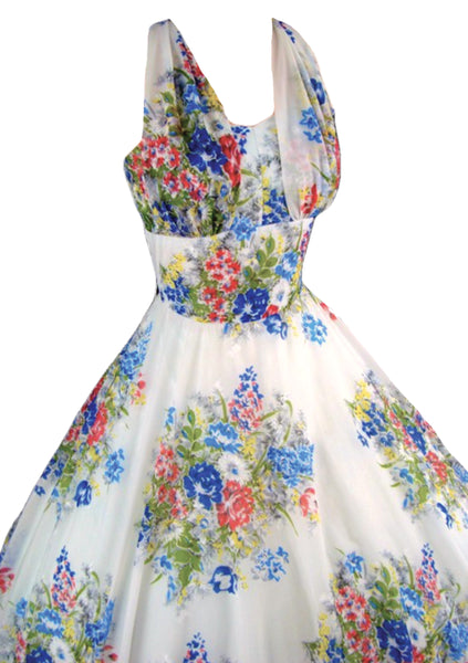 1950s Blue Roses Bouquet Chiffon Dress- New! (On hold)