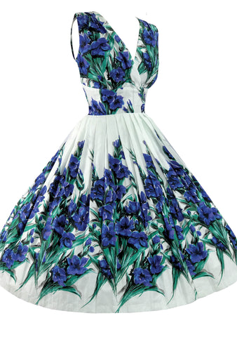 1950's Style Blue Iris Floral Print Recreation Dress - New!
