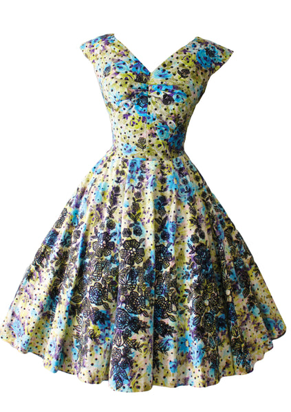 1950s Blue & Yellow Roses Cotton Dress with Flocking - New!