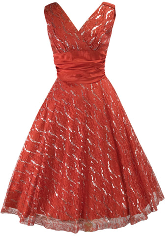 1950s Red Lace Dress with Silver Thread - New!