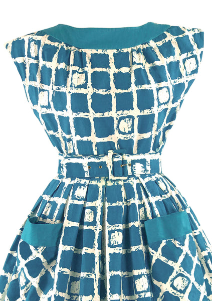 Early 1960s Turquoise & White Atomic Print Cotton Dress - New!