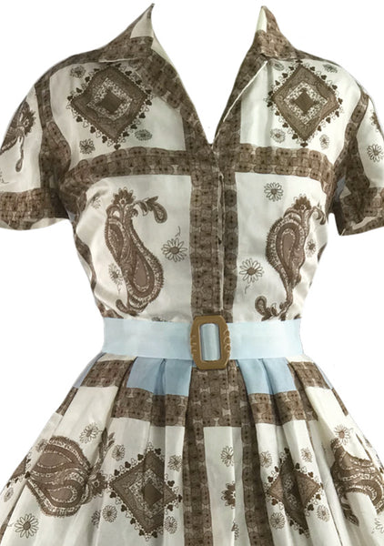 Amazing Silky 1950s Geometric Scarf Print Dress - New!