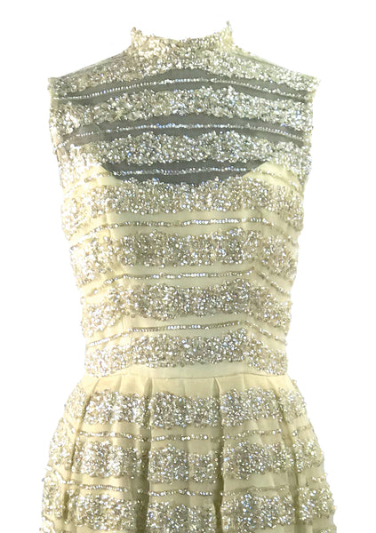1960s Ivory Net Sequinned Designer Party Dress - New!