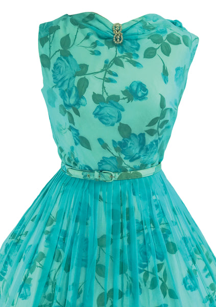 1950s Aqua Chiffon  Blue Roses Taffeta Party Dress - New! (ON HOLD)