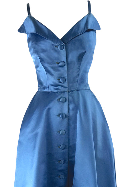 Amazing Late 1950s Blue Silk Satin Cocktail Dress- New!