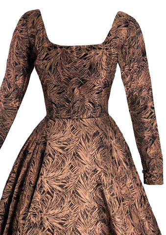 1950s Feather Print Black & Bronze Jacquard Dress- New! (ON HOLD)