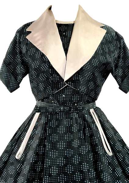 Vintage 1950s Turquoise Blue & Black Dress Ensemble- New!