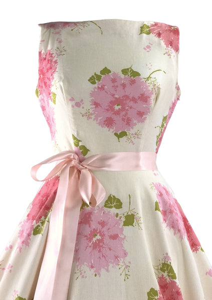 1950s Pink Hydrangeas Pique Cotton Dress - New! (RESERVED)