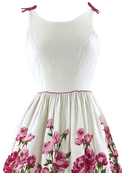 Early 1960s Pink Roses on White Pique Cotton Dress- New!